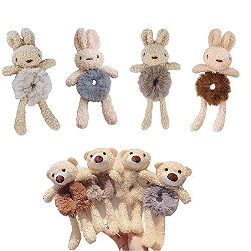 RONHIAS Lindo lazo de pelo de oso de felpa, para mujer, moda de felpa, lazo de conejito y oso, cuerda de pelo para coleta, cinta elástica de terciopelo (A)