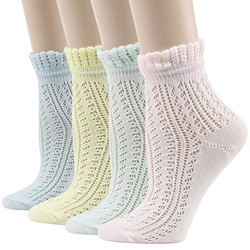 Womens Ruffle Frilly Socks,JSPA Ladies Big Girl Jacquard Fancy Cuff Frilly Casual Cotton Sandals Socks Crew Gift Elastic Sheer Knitting Patterned Lolita Ankle Hosiery Socks 4 Pairs Pointelle Pattern