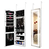 Ezigoo LED Jewellery Cabinet Door - Wall Mounted Jewellery Cabinet with Frameless Mirror
