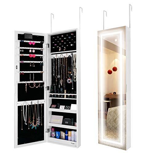 Ezigoo Armario para Joyas LED con Puerta - Espejo Joyero Montado en la Pared…