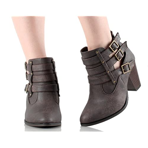 9d6698b0ed1 Women s Faux Leather Chunk Stacked Heel Strappy Triple Buckle Ankle Boots  in Black