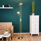 Lindby LED Stehlampe 'Josefin' dimmbar in Gold/Messing aus Metall u.a. für Wohnzimmer & Esszimmer (A+, inkl. Leuchtmittel) - Wohnzimmerlampe, Stehleuchte, Floor Lamp, Deckenfluter, Standleuchte