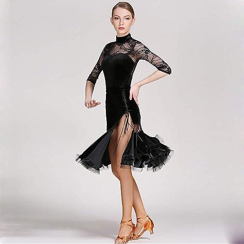 DHTW&R Femmes Haut De Gamme Latin Danse Jupe Les Robes Flexible étape Examen De Danse Les Costumes élégant Fête Concurrence Robe