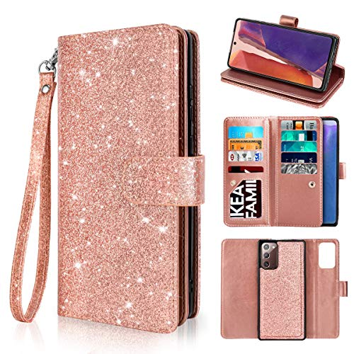 Newseego Compatible Samsung Galaxy Note 20 Leather Case, Glitter Faux PU Leather Magnetic Closure Multi-Credit Card Slot Cash Holder Detachable 2 in 1 Wallet Cover with Wrist Strap-Rose Gold