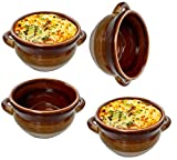 Chefcaptain Stoneware French Onion Soup Crock Chili Bowls with Handles 4 PACK (IVORY CARAMEL WHITE 4 PACK 16 OUNCES)