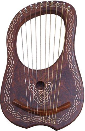 Lyre Harfe mit 10Saiten, rötlich holzfarben, Leier/Harfe aus Palisanderholz mit Tragekoffer