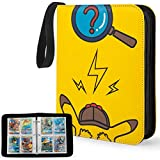 YINKE Case Binder for Pokemon Card, Game Cards, Holds Up to 400 Cards with 50 Premium 4-Pocket Page, Hard Organizer Carry Cover Storage Bag (Yellow)
