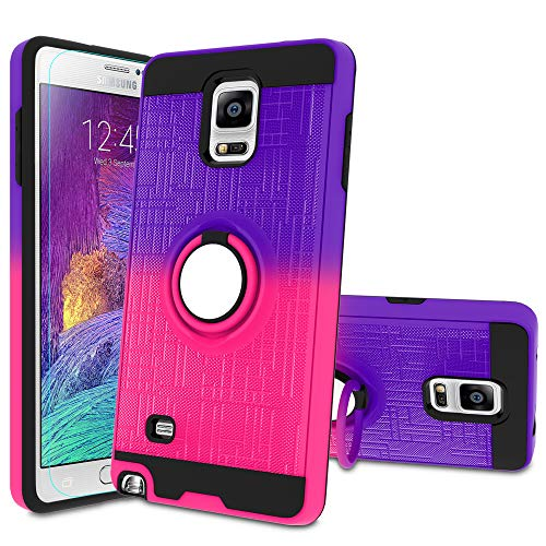 Galaxy Note 4 Case, Note 4 Phone Case with HD Screen Protector,Atump 360 Degree Rotating Ring Holder Kickstand Bracket Cover Phone Case for Samsung Galaxy Note 4 Purple/Red
