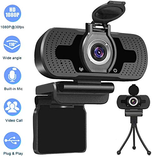 USB Webcam 1080p,Webcam for pc,Desktop,Laptop,Streaming Webcam Built-in Mic,Plug and Play Video Calling Computer Camera,Computer Camera fo Gaming and Conferencing,with Privacy Cover &Tripod
