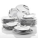 VEWEET série 'Kayla', Service combiné en Porcelaine, Set de 36 Assiettes pour 12...