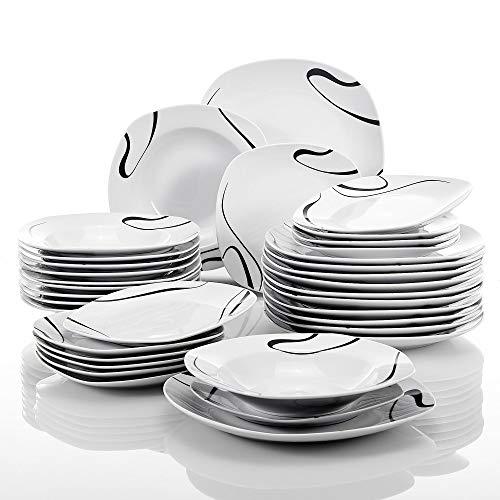VEWEET série 'Kayla', Service combiné en Porcelaine, Set de 36 Assiettes pour 12 Personnes