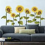 decalmile Pegatinas de Pared Girasol Vinilos Decorativos Flores de Jardín Adhesivos Pared Habitación Infantiles Dormitorio Salón