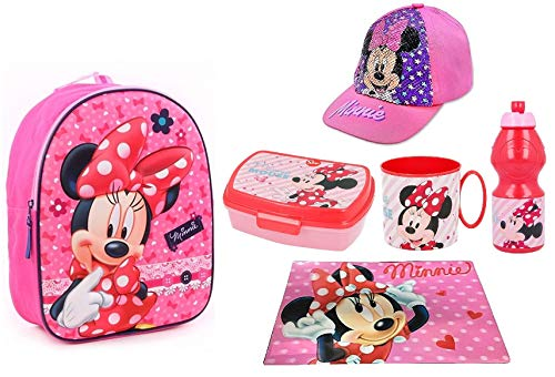Minnie Disney Rosa Zainetto Zaino 3D ,Porta Merenda ,Cappello con Paillettes Scuola Asilo Tempo Libero
