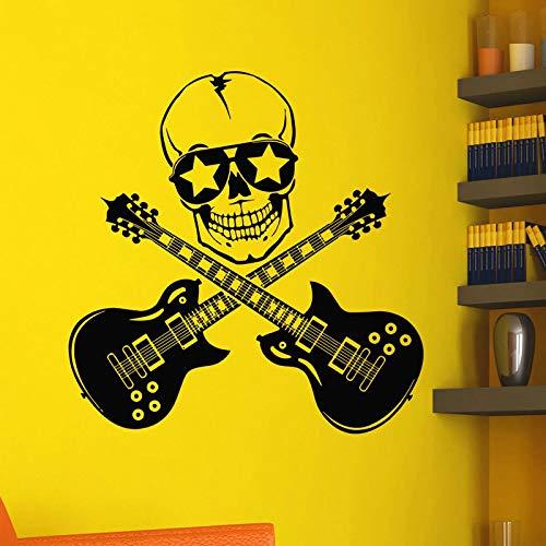 ASFGA Kunst Wandaufkleber permanente Rock Gitarre Raumdekoration Vinyl Kunst abnehmbare Heimdekoration Poster Junge Wand Bar Schädel Club 57x58cm