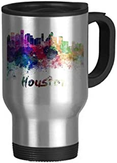 Houston America City Watercolor Travel Mug Flip Lid Stainless Steel Cup Car Tumbler Thermos