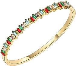 Lavencious Hinged Bangle Bracelet 4mm CZ Single Row Prong Rhodium Plated 7