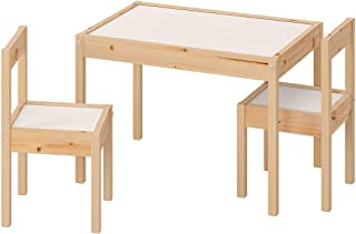 Children's table with two chairs white colour,made of pine wood