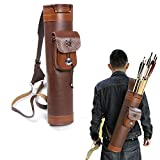 TOPARCHERY Traditional Shoulder Back Quiver Bow Leather Arrow Holder with Large Pouch Handmade Straps Belt Bag Brown