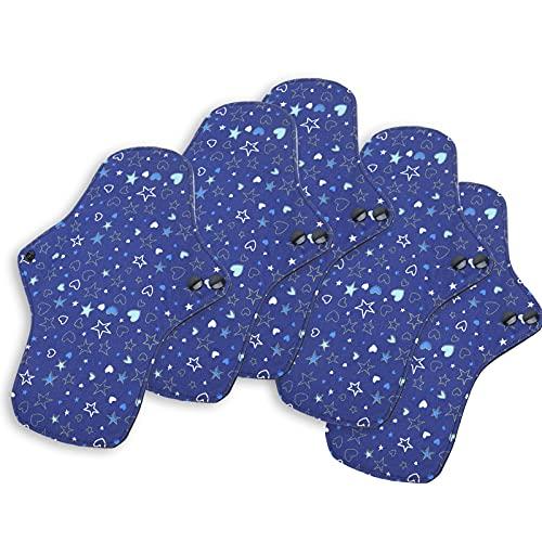 Almohadillas menstruales de tela de 5 piezas, almohadillas sanitarias de algodón reutilizables almohadillas de tela de algodón ultra absorbentes para mujeres de período, cómodas(M)