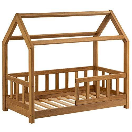 Hausbett für Kinder 70x140 cm - Schönes Kinderbett aus Holz mit Rausfallschutz | Jugendbett im skandinavischen Haus Stil | 90 x 200 Bett aus Eiche inkl. Lattenrost | Massivholz Eiche
