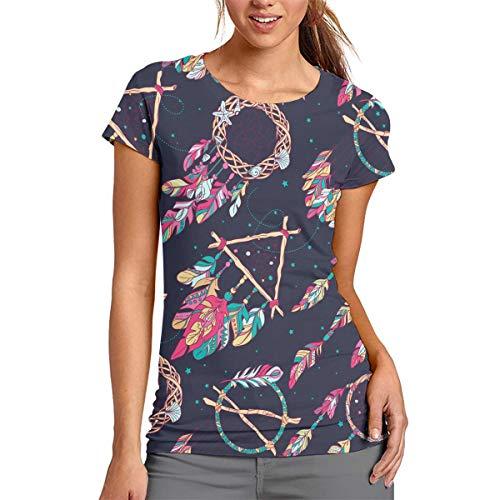 Flying XIE Women Dream Catcher Amulet Classic 3D Creative Print T-Shirt Short Sleeve Tees
