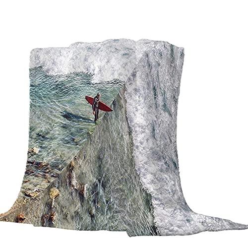 Manta Caliente ara Adultos y niños con Suave Franela 150 × 200 cm, patrón de navegar 3D, Adecuada para hogar, Oficina,sofá, Cama, Camping, etc.