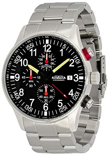 Astroavia Herren-Armbanduhr Chronograph Quarz mit Edelstahl Armband massiv N31S