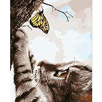 数字で描く DIY油絵キット 大人と子供向けギフト印刷済み16x20インチキャンバスフレームレス-猫と蝶