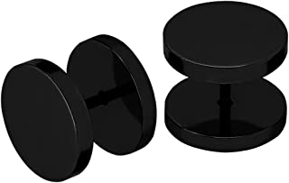 Soul-Cats/® Deux Fakeplugs en argent noir 4 5 6 8 10 12 14 16 mm Faux plug Boucles doreilles en acier inoxydable Hommes