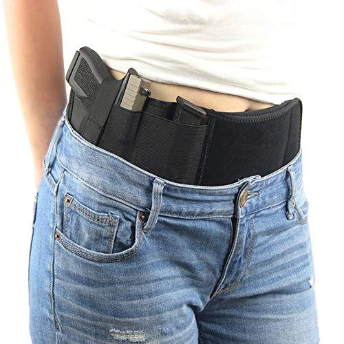Estuche para pistola con banda para el vientre para transporte oculto, banda para el vientre, funda para pistola, cintura, compatible con Glock, Smith & Wesson, Taurus, Colt, Kimber, Beretta, Kahr