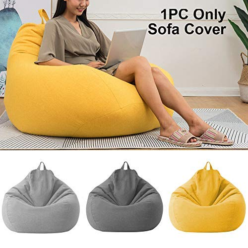 BGY Gefüllt Aufbewahrung Sitzsack Stuhlbezug Für Kinder Erwachsene, XL Waschbar Möbel Sitzsack Ohne Füllung Für Organisation Kinder Plüsch Spielzeug - Gelb, 70x80cm