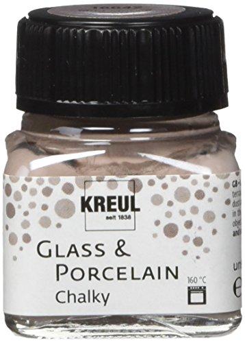 Kreul 16642 - Glass und Porcelain Chalky, sanft - matte Glas- und Porzellanmalfarbe auf Wasserbasis, schnelltrocknend, deckend, 20 ml Glas, Mild Mocca