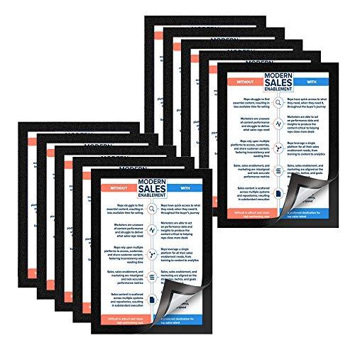 VAIIGO Magnetrahmen Info-Rahmen Selbstklebend mit Magnetverschluss für Informationsrahmen DIN A4 Format 10 Stück Schwarz
