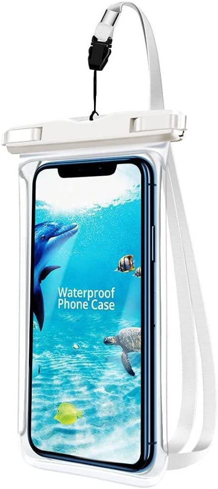 JOEDOT IPX8 Full View Waterproof Case Rainforest Desert Snow Transparent Dry Bag Seaside Swimming Pouch Mobile Phone Covers (Ivory)