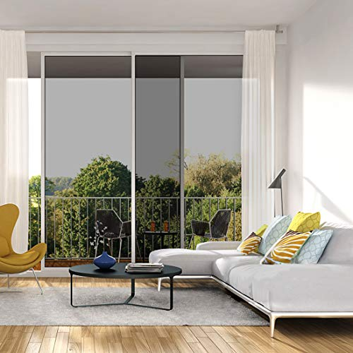 Window Film One Way Mirror Film Daytime Privacy Static Non-Adhesive Decorative Heat Control Anti UV Window Tint for Home and Office Black Silver 6 Mil 17.7 Inch x 6.5 Feet