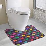 Vidmkeo Bath Mat Non Slip Absorbent Super Cozy Coral Velvet Bathroom Rug Toilet Carpet (15.74' X 19.29' U Contour, Colorful Texture Shapes Art)