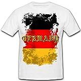 Sale Shirt Germany Flag Flagge Deutschland Schwarz Rot Gold Fahne - T-Shirt#R282, Größe:4XL (XXXXL), Farbe:Weiß