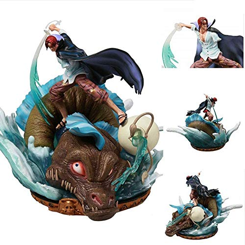 Exquisite Action Figures Red Hair Shanks 37cm GK Scene Statue PVC Anime Cartoon Game Character Model Statue Figure Toy Collectibles Decorations Gifts Favorite by Anime Fan Feng