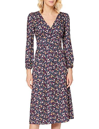 Springfield Frq.Vestido Midi Macro Flor-C/19 Vestido de Fiesta, Azul (Blue_Print 19), 38 (Tamaño del Fabricante: 38) para Mujer