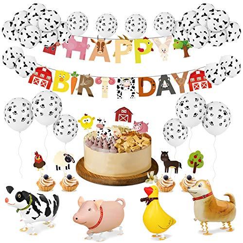 PushingBest Geburtstagsdeko, Bauernhof Geburtstag Party Deko Set, Tier alles Gute zum Geburtstag Banner, Animal Cake Topper, folien ballons und Latexballons