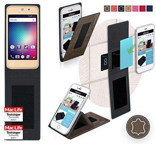 reboon Hülle für BLU Vivo 5 Mini Tasche Cover Case Bumper   Braun Wildleder   Testsieger