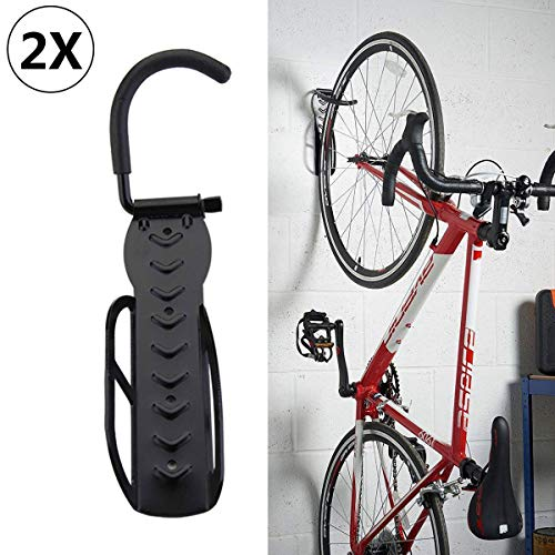 Shoze Set Of 2 Wall-Mount Bicycle Holders, For Bike Wall Storage, Bike Wall Hanger,Tyre Holders, Black (2 PCS)