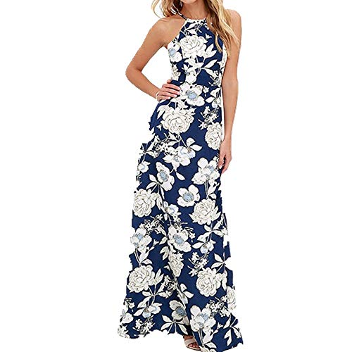 U/A Dress Summer Dresses Women Floral Print Dress Plus Size Sleeveless Blue
