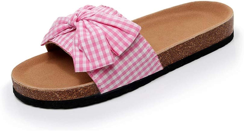 Ailj Women's Sandals, Woman's Slide with Sandals Pregnant Women Sandals Canvas Knot Bow Summer Non-Slip Casual Sandals Bow Sandals 2 Colour