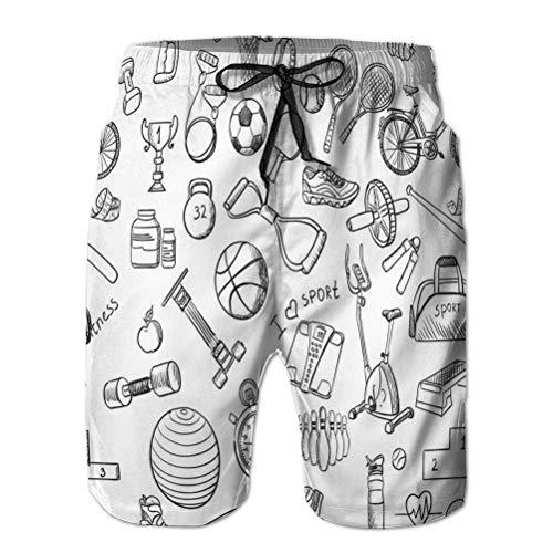 Yuerb Shorts de Playa para Hombre, bañador, Pantalones Cortos de Deporte, Dibujado a Mano, Deporte, Garabato