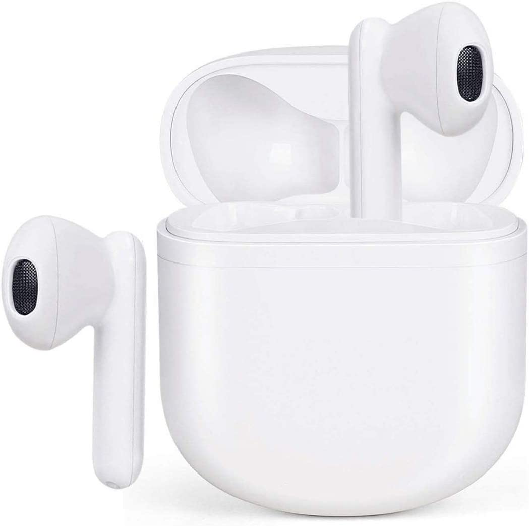 Wireless Earbuds Bluetooth 5.0 Headphones with Charging Case 3D Stereo Earpods Air Buds in-Ear Ear Buds with Deep Bass Touch Control Earphones Sport Headsets for Android/Samsung/Apple iPhone (White)