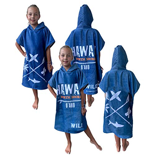 HOMELEVEL Kinder Baby Poncho Badeponcho Handtuch Cape Baumwollmischung Velours Frottee Badetuch mit Kapuze (8-11 Jahre, Blau Hawaii)