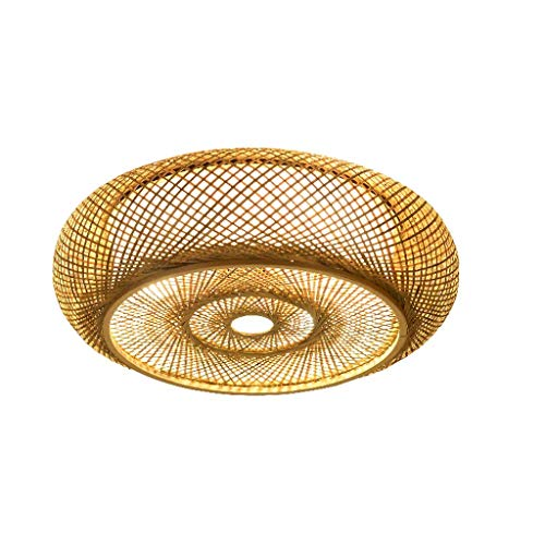 YANQING Duurzame Plafond Lampen Handgeweven Bamboe Rattan Ronde Lantaarn Schaduw Plafond Armatuur Rustieke Japanse Plafond Lamp Slaapkamer Woonkamer Plafond Lampen (Maat: 50cm), Kleur:40cm