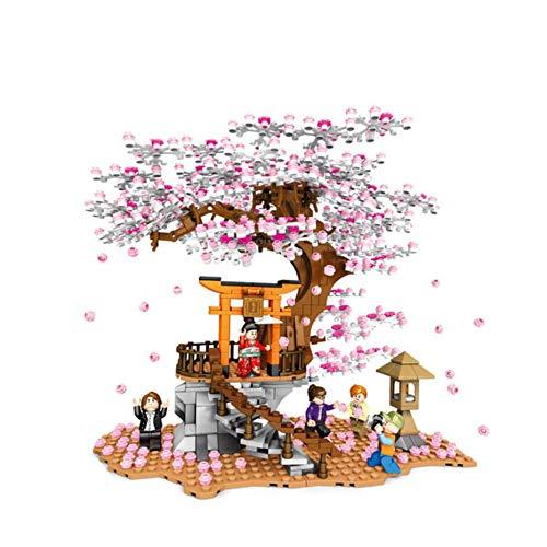 XLY Módulos Árbol De Sakura con Placa Base Casa del Árbol Casa del Árbol Aventura Juguete Bloques De Terminales De Construcción Lego Compatible Adecuados para Adultos Y Niños,1