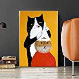 GJQFJBS Black Cat Barber Shampoo Cartoon Animal Oil Paining on Canvas Wall Art and Funny Picture Decor for Kids Room (Frameless) A5 70X120CM